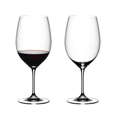 Riedel VINUM Cabarnet Sauvignon/Merlot Dishwasher Safe Bordeaux Crystal Wine Glasses, Set of 2