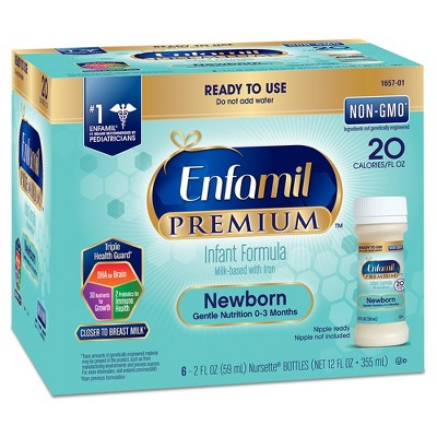 Enfamil Premium Newborn Infant Formula Nursettes - 2oz bottles (6ct)