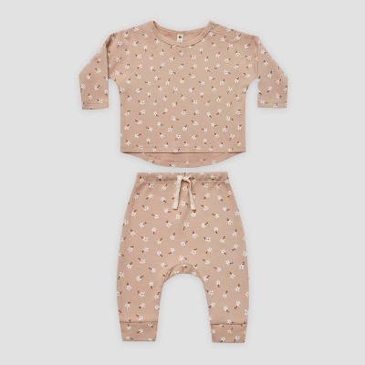 Q by Quincy Mae Baby Girls' 2pc Floral Brushed Jersey Top & Bottom Set - Blush Pink 0-3M
