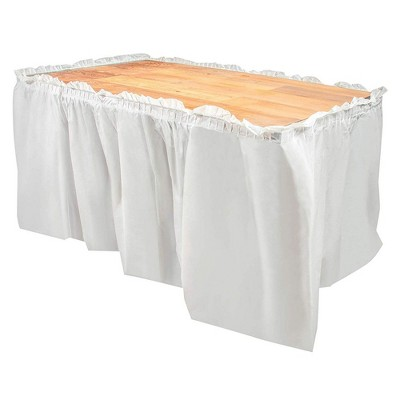 Juvale 6-Pack Ruffled Plastic Table Skirts for Wedding, Engagement, Birthday, White, for Tables Up To 8 Ft