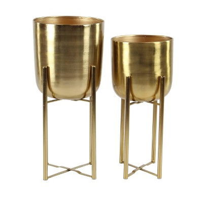 Set of 2 Planters with Stand Gold - Olivia & May