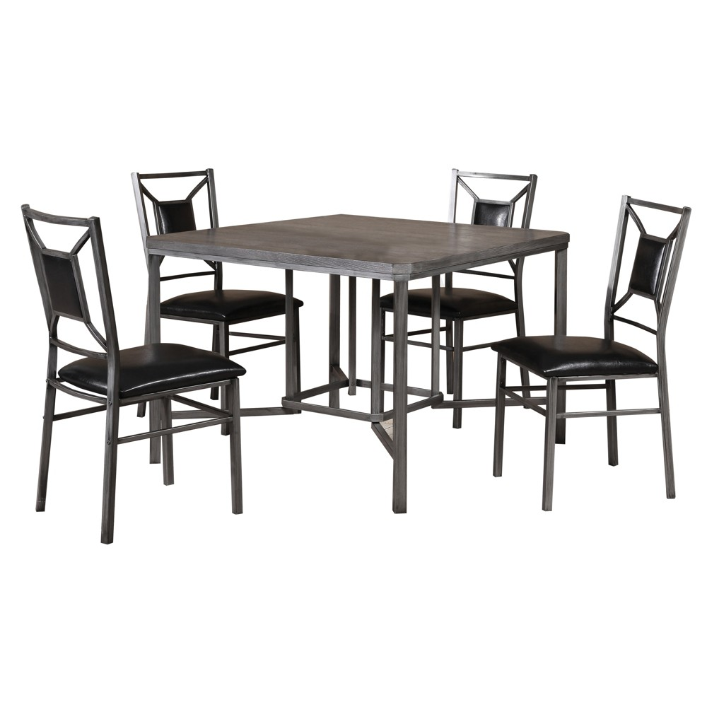 5pc Dining Set Gray - Home Source Industries