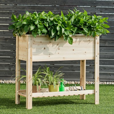 COSTWAY Raised Garden Planter Bed Box Stand Wood Elevated Planter w/Shelf 36''x16''x32''