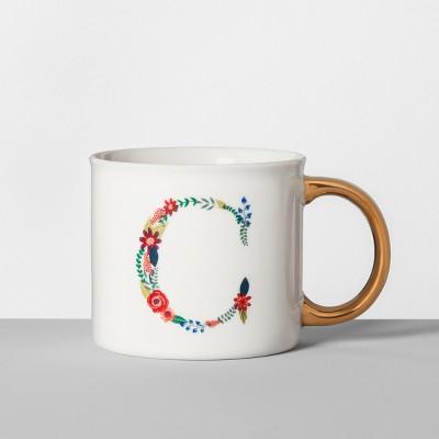 Monogrammed Porcelain Floral Mug C 16oz White/Gold - Opalhouse™