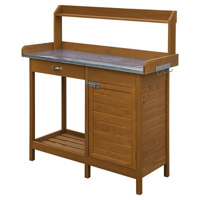 Deluxe Potting Bench with Cabinet Light Oak - Breighton Home