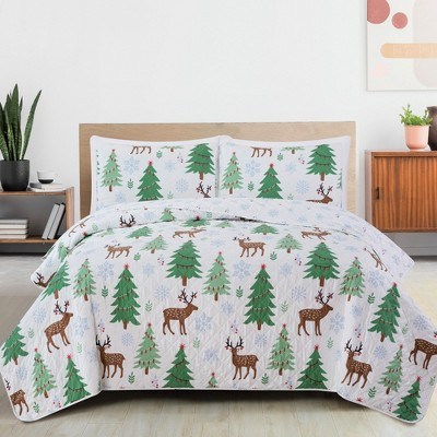 Great Bay Home Reversible Holiday Trees Printed Quilt Set