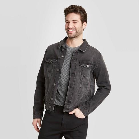 Men's Denim Wash Trucker Jacket - Goodfellow & Co™ Black - image 1 of 2