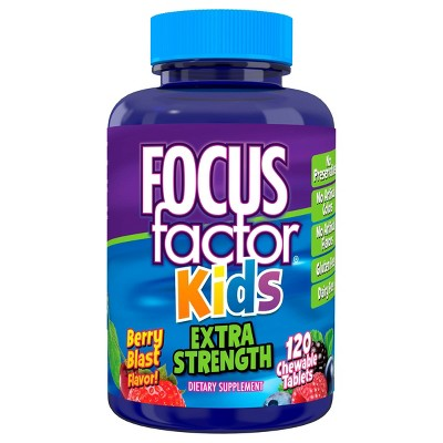 Focus Factor Kids Extra Strength Daily Chewables for Brain Health Support - 120ct