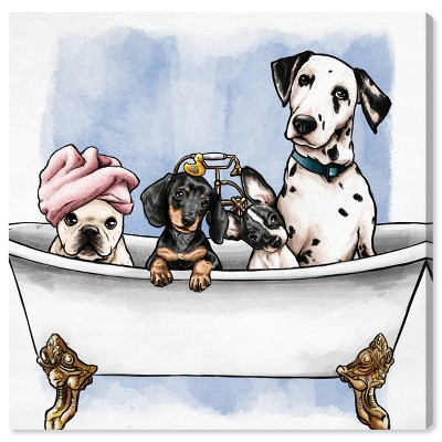 """12"""" x 12"""" Pets In The Tub Bath and Laundry Unframed Canvas Wall Art in White - Oliver Gal"""
