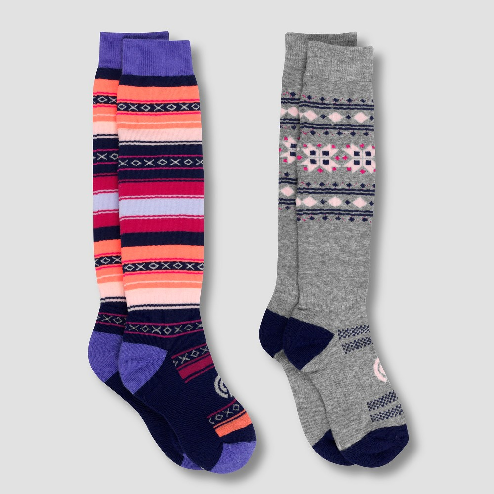 Girls' Warmest 2pk Outdoor Athletic Over the Calf Socks - C9 Champion Purple M, Multicolored