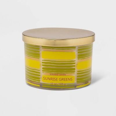 15oz Lidded Glass Jar Stripe Print 3-Wick Candle Sunrise Greens - Opalhouse™