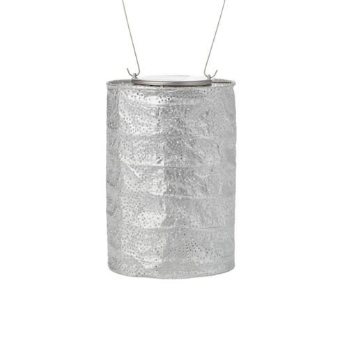"Allsop 7.5"" x 5"" Soji Stella Tin Cylinder Solar Outdoor Lantern - image 1 of 4"
