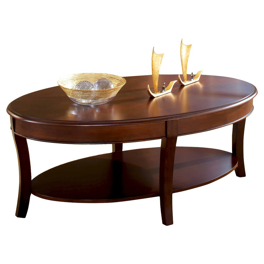 Troy Oval Cocktail Table Brown Cherry - Steve Silver, Brown Sugar