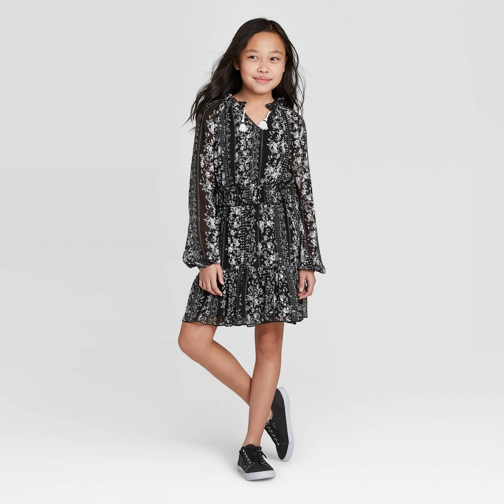 Girls' Smocked Ruffle Dress - art class Black M was $18.99 now $13.29 (30.0% off)