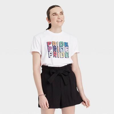 Pride Gender Inclusive Adult 'Pride Pride Pride' Short Sleeve Graphic T-Shirt - White