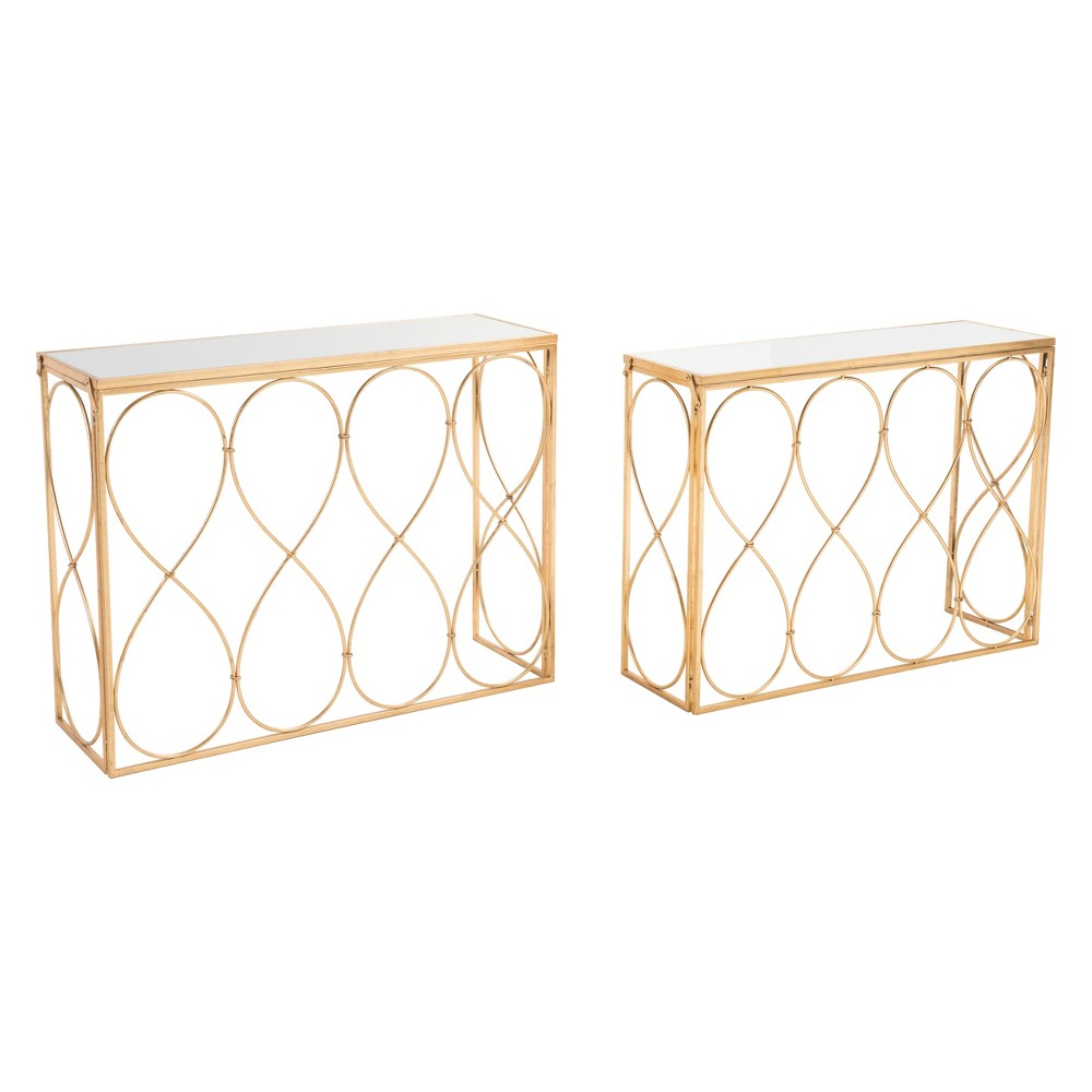 Modern Console Tables Set of 2 Gold - ZM Home