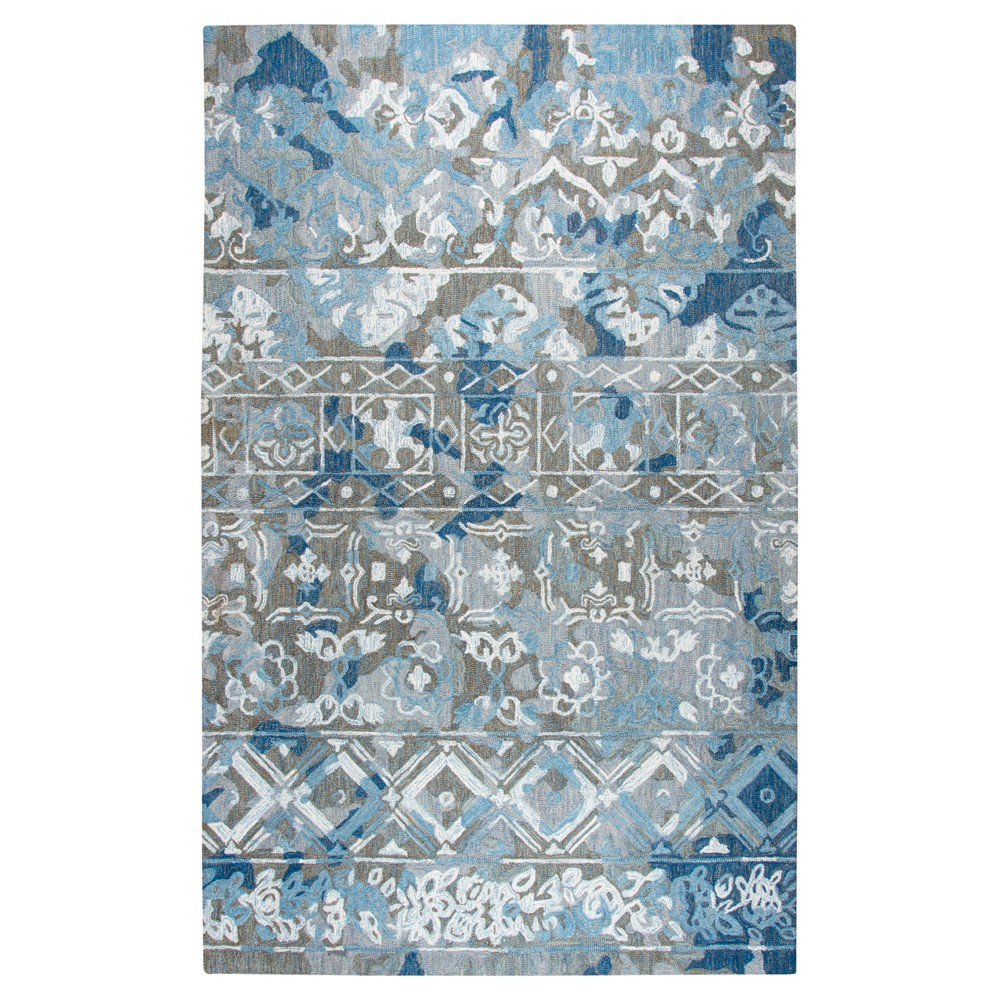 Blue Gray Abstract Tufted Area Rug - (5'x8') - Rizzy Home
