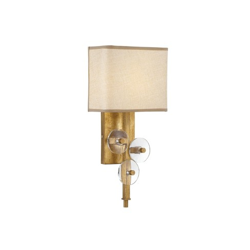 """16"""" Engeared 1 Light Wall Sconce Antiqued Gold Leaf/Gold Fabric - Varaluz - image 1 of 3"""