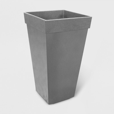 """28"""" Recycled Self Watering Square Tapered Planter Gray - Smith & Hawken™"""