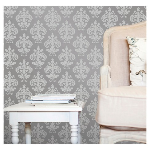 Devine Color Chantilly Peel Stick Wallpaper Beluga And Sterling