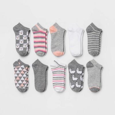 Women's Llama 10pk Low Cut Socks - Xhilaration™ Gray/Pink/White 4-10