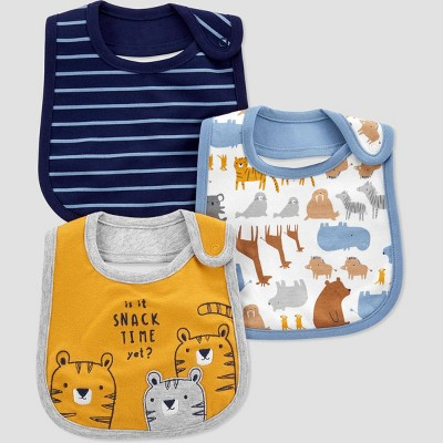 Baby Boys' 3pc Tiger Bib Set - Just One You® made by carter's Blue/Gray