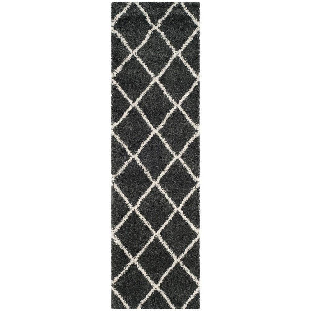2 39 3 34 X12 39 Hudson Shag Runner Rug Dark Gray Safavieh