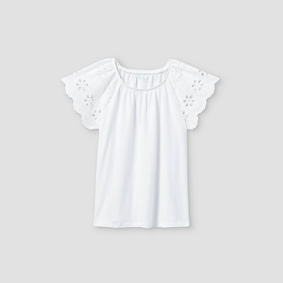 Girls' Eyelet Short Sleeve T-Shirt - Cat & Jack™