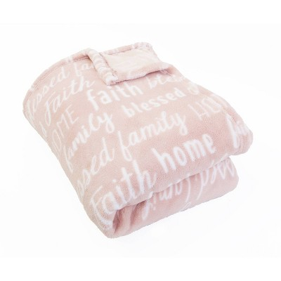 "50""x70"" Pearson Family Words Printed Loft Fleece Throw Pink - Décor Therapy"