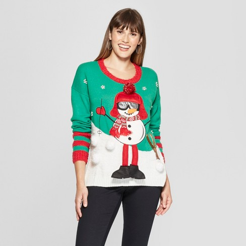 Women's Pom Pom Skiing Snowman Ugly Christmas Sweater - 33Degrees - image 1 of 2
