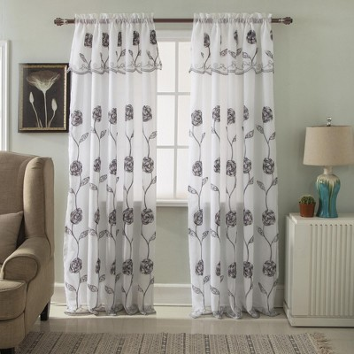 "Ramallah Trading Crystal Floral Embroidered Single Window Curtain Drape Panel- 54""x84"", with 18"" attached Valance Rod"