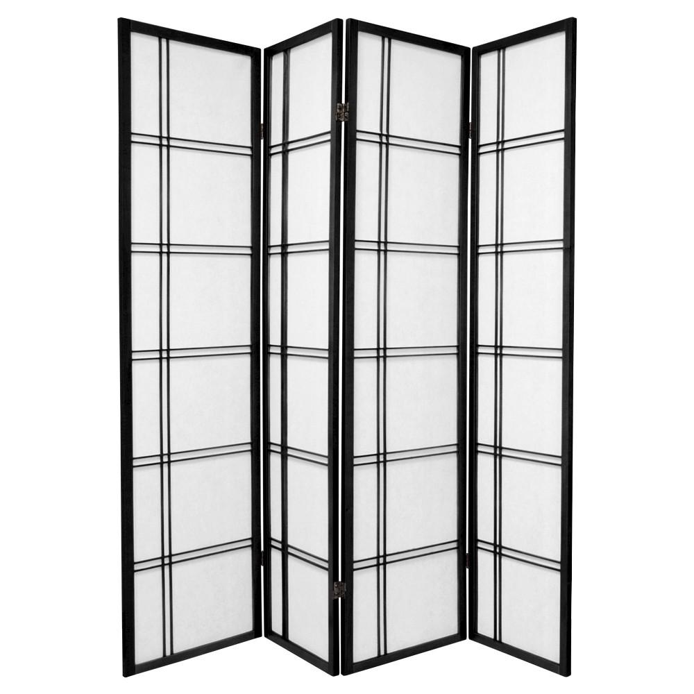 6 ft. Tall Double Cross Shoji Screen - Black (4 Panels)
