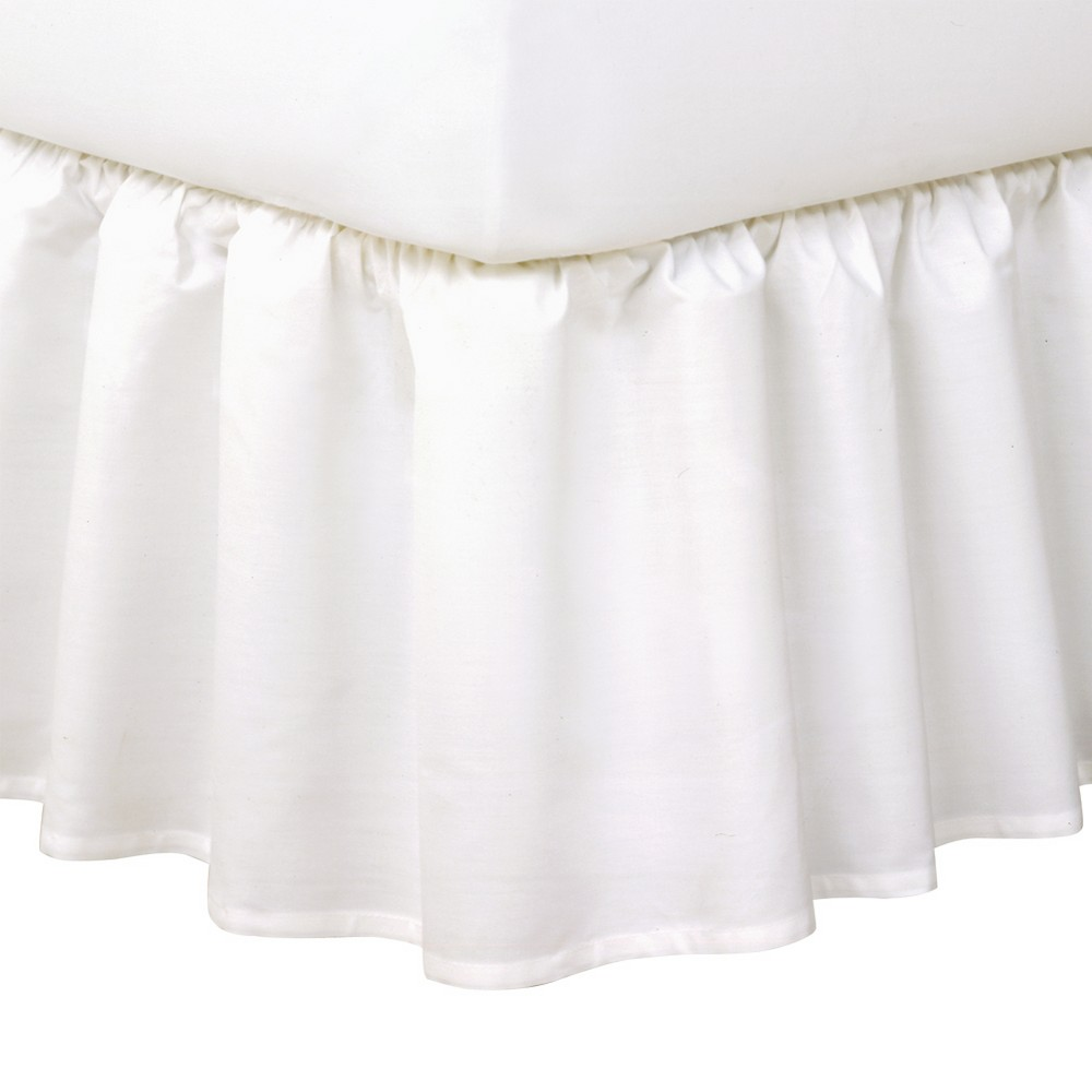 "Image of ""Queen Tailored Bedskirt 14"""" Drop Gray - Magi Skirt, White"""
