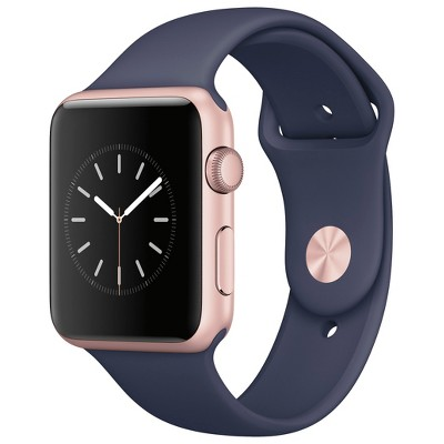 Apple® Watch Series 1 42mm Rose Gold Aluminum Case with Midnight Blue Sport Band