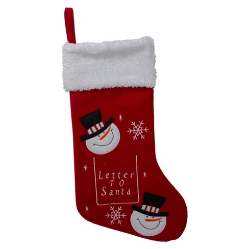 Northlight 19 Red And White Embroidered Snowmen Letter To Santa Christmas Stocking Target
