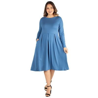 24seven Comfort Apparel Women's Plus Fit and Flare Midi Dress