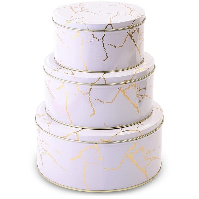 3-Pack Empty Nesting Metal Tin Box Canister Set Round Storage Container for Cookie Candy Gift, White/Gold Marble 3 Sizes