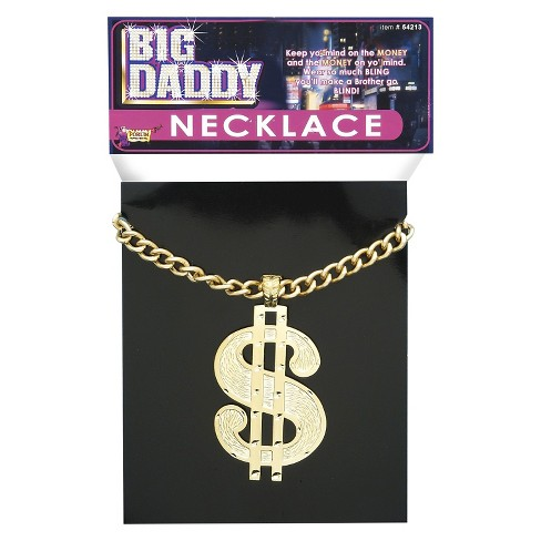 Halloween Adult Necklace Dollar Sign Jumbo Silver - One Size - image 1 of 1
