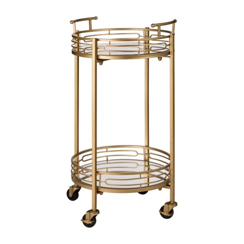 Deluxe Metal Round Mirrored Bar Cart Gold - Glitzhome - image 1 of 7