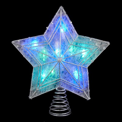 """Kurt S. Adler 12"""" Lighted Silver and Clear Star Color Changing LED Christmas Tree Topper"""