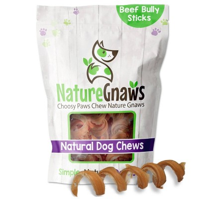 """Nature Gnaws Bully Springs 7 -8"""" Beef Dog Treats- 12ct"""