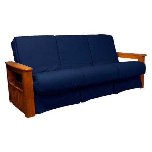Strange Flip Top Arm Perfect Futon Sofa Sleeper Medium Oak Wood Finish Dark Blue Epic Furnishings Ibusinesslaw Wood Chair Design Ideas Ibusinesslaworg