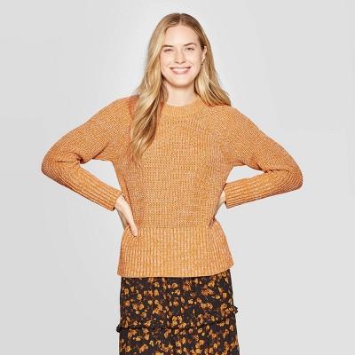 Women's Crewneck Raglan Pullover Sweater - Universal Thread™ Squash L