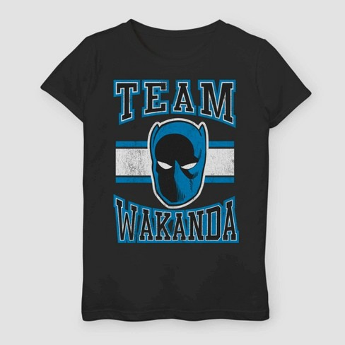 Girls' Marvel Black Panther Team Wakanda Short Sleeve T-Shirt - Black - image 1 of 1