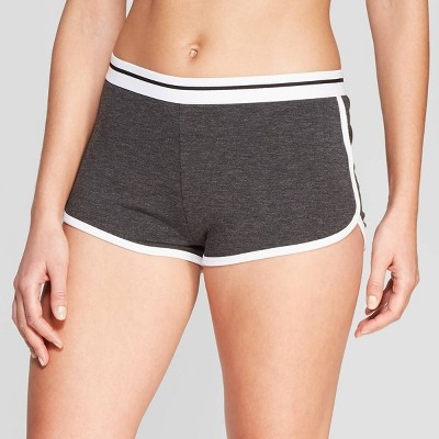 Women's Athletic Striped Weekend Soul Boxer Pajama Shorts - Charcoal M
