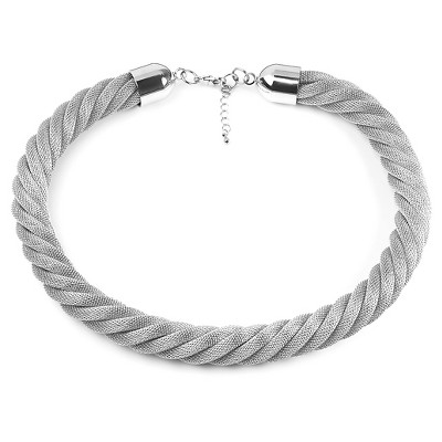 West Coast Jewelry Stainless Steel Twisted Mesh Necklace