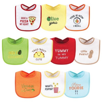 Hudson Baby Infant Cotton Terry Drooler Bibs with Fiber Filling 10pk, Neutral Pizza, One Size