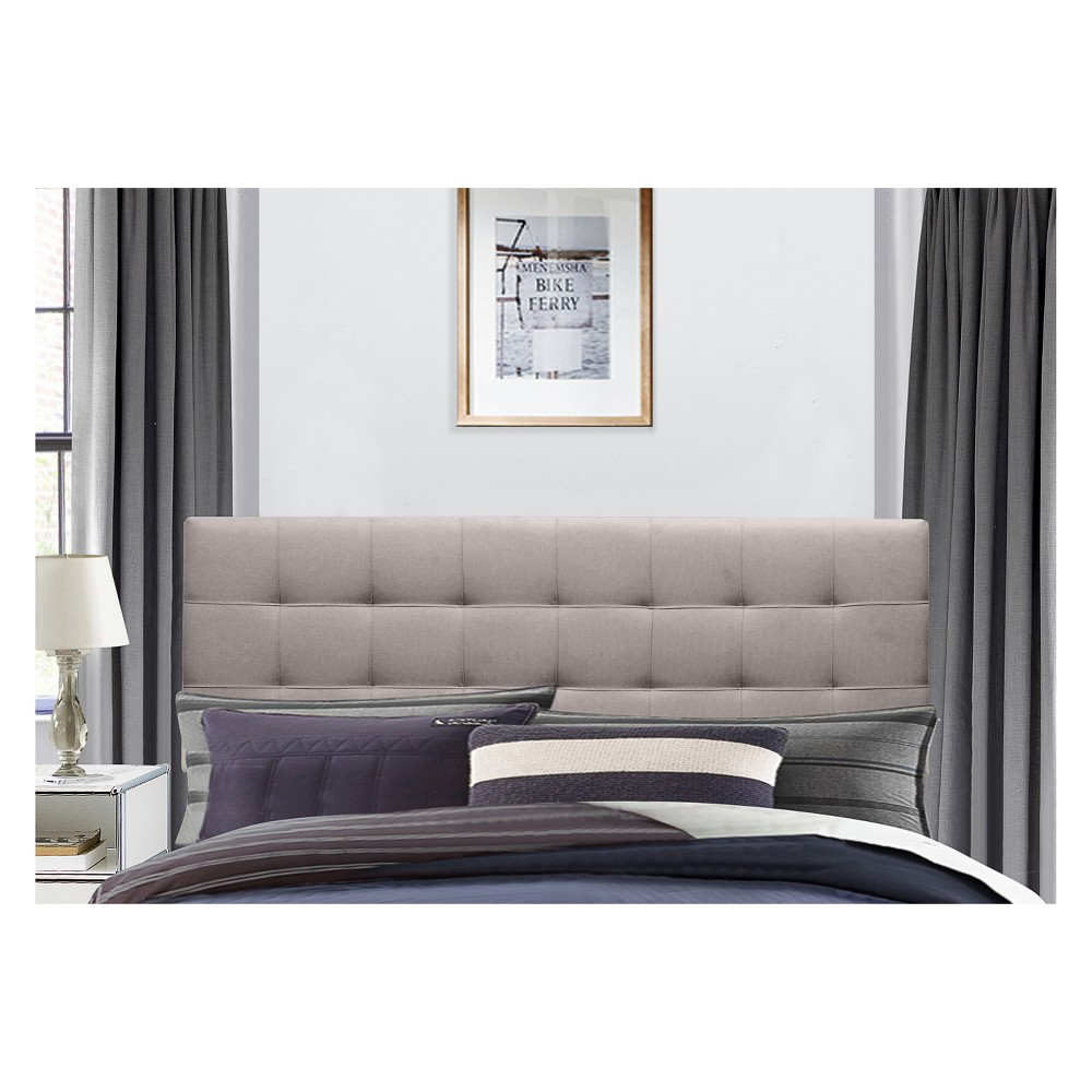 Delaney Upholstered Headboard King Stone Fabric Metal Headboard Frame Not Included - Hillsdale Furniture, Stone Grey