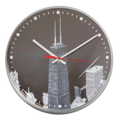 "12.75"" Hancock Quartz Movement Decorative Wall Clock White/Black - The Chicago Lighthouse"
