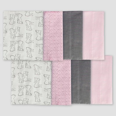Gerber Baby Girls' 8pk Bunny Burpcloth - Pink/White/Gray